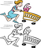 Fast Shopper. Cartoon image of a lady in a hurry to get her shopping done - both color and black / white versions Royalty Free Stock Photos