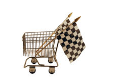 Fast shopping. Shopping cart made of metal used for carrying groceries with Checkered flags that symbolize the finish line Royalty Free Stock Image