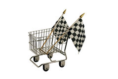 Fast Shopping. Shopping cart made of metal used for carrying groceries with Checkered flags that symbolize the finish line Royalty Free Stock Photography