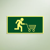 Fast shopping sign. Stick figure running with cart, like an evacuation sign, Conceptual eps10 vector Royalty Free Stock Photos