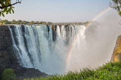 Fast shutter speed Victoria Falls view with rainbow Stock Image