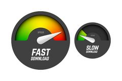 Fast and slow speedometers. Fast and slow download speedometers, speed test Vector Illustration