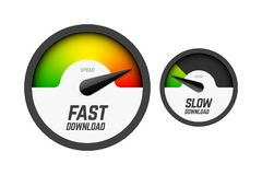 Fast and slow speedometers. Fast and slow download speedometers, speed test stock illustration