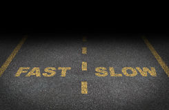Fast And Slow Lanes. As a business dilemma on how to proceed with a financial plan and strategy in terms of growing more conservative or aggressive growth as an Stock Photos