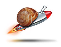Fast Snail. Speed concept with a mollusk shell being flown by a rocket  booster as a business metaphor for rapid service and competitive technology innovation Stock Photography