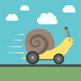 Fast snail with wheels Stock Photo