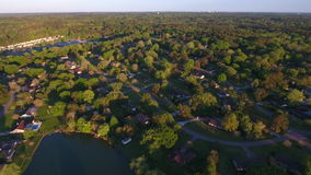 Fast sped up aerial video woods stock footage