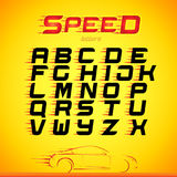 Fast speed english alphabet letters, numbers, symbols for your design. Fast speed font. Vector design template elements for your a. Pplication or company Stock Photography