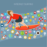 Fast speed mobile internet surfing Royalty Free Stock Images
