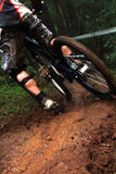 Fast speed mountain bike. Mountain biker riding in a fast speed Royalty Free Stock Photos