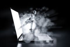 Fast speed technology concept. With 3d rendering robot run out of computer notebook