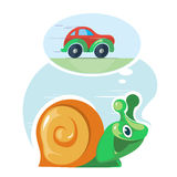 Fast speedy snail dreams to move as the cars Stock Photo