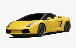 Fast Sport Car. Yellow sport car isolated on white royalty free stock images