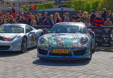 Fast sports-cars before the start of the public event Gumball 30 Stock Photo