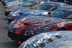 Fast sports-cars before the start of the public event Gumball 30 Royalty Free Stock Photos