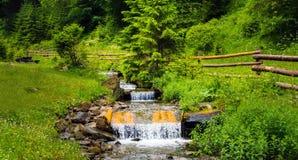 Fast stream with cascade. Stock Photos