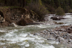 Fast stream in a mountain river. Royalty Free Stock Photo