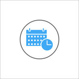 Fast symbol för datum och för tid, mobilt tecken och kalender stock illustrationer
