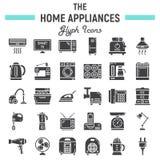 Fast symbolsuppsättning för hem- anordningar, teknologisymboler royaltyfri illustrationer