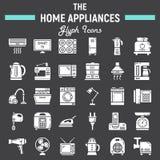 Fast symbolsuppsättning för hem- anordningar, teknologisymboler stock illustrationer