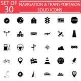 Fast symbolsuppsättning för navigering, transporttecken vektor illustrationer