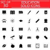 Fast symbolsuppsättning för utbildning, skolateckensamling royaltyfri illustrationer