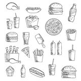 Fast and takeaway food sketched icons Stock Photos
