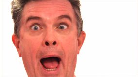 Fast talking head funny face rolling eyes stock footage