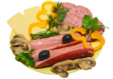 Fast, tasty snack. Sausage with vegetables and cheese Stock Image