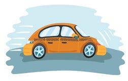 Fast taxi car. Vector cartoon fuuny illustration of fast taxi. Moving car Royalty Free Stock Photos