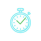 Fast time logo, stop watch speed concept, quick delivery, express and urgent services. Deadline and delay, vector line icon Royalty Free Stock Photos