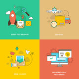 Fast, Timely, Free Delivery and Online Shopping Stock Photography