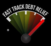 Fast track debt relief speedometer. Illustration design background Stock Images