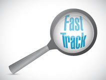 Fast track magnify glass sign concept Stock Photography