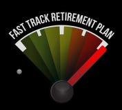 Fast track retirement plan speedometer Stock Photography