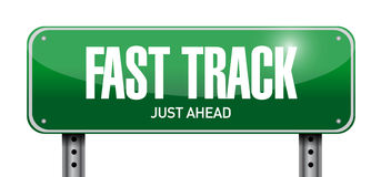 Fast track road sign illustration design. Over white Royalty Free Stock Photos