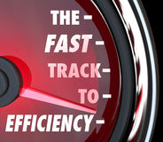 Fast Track to Efficiency Speedometer Effective Productive Improv. The Fast Track to Efficiency words on a red speedometer to illustrate effective efforts to Stock Photos