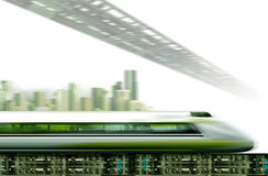 Fast train. Illustration with motion blurred background Royalty Free Stock Photography