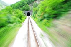 Fast train. Empty railroad track with blur effect Stock Image