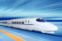 Fast train. With motion blur Royalty Free Stock Photography