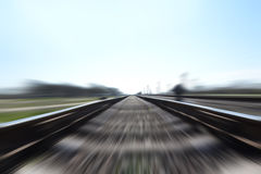 Fast train. Photo of a Fast train in motion and blue sky Stock Photo