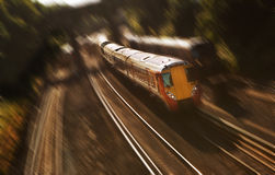 Fast train. Motion blurred fast commuter train stock photography