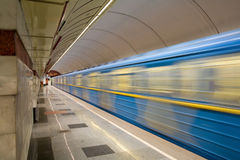 Fast train. With motion blur in a subway Royalty Free Stock Photography