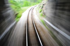 Fast train blurred. Empty railroad trck with blur effect royalty free stock photography