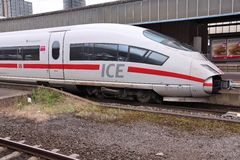 Fast train in Germany. DORTMUND, GERMANY - JULY 16, 2012: ICE train of Deutsche Bahn in Dortmund, Germany. In 2009 ICE Express trains transported more than 77 Royalty Free Stock Photography