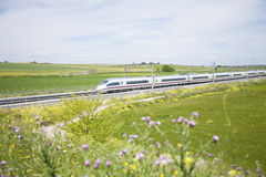 Fast train in landscape Stock Photography
