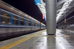 The fast train leaving from station Stock Photos