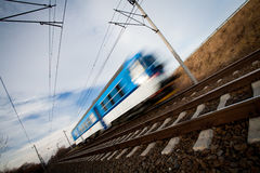 Fast train on a lovely summer day stock images