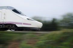 Fast Train. Modern Fast Train in Motion Stock Photo