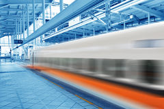 Fast train in motion. Fast train passing by with Motion blur Royalty Free Stock Photo
